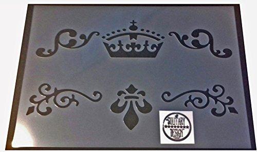 Shabby Chic Möbelschablone Damast unter Detailers A4 297 x 210 mm Designs C