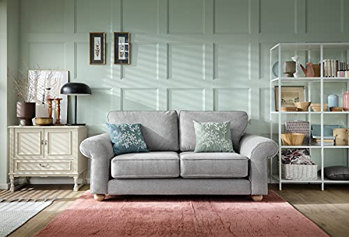 Abakus Direct   Ingrid 3 or 2 Seater Sofa Set, Armchair, Cuddle Chair in Smart Linen Light Grey (2 Seater)