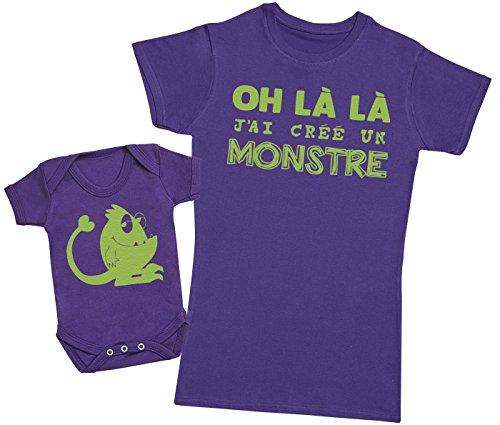 Zarlivia Clothing Oh là là J'Ai créé Un Monstre Vert - Ensemble Mère Bébé Cadeau - Femme T Shirt & bébé Bodys - Violet - S & Naissance