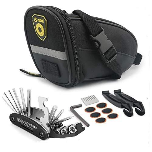 Ubrand - Juego de herramientas de reparación multifunción para bicicleta, bolsa de sillín de bicicleta, juego de herramientas de reparación