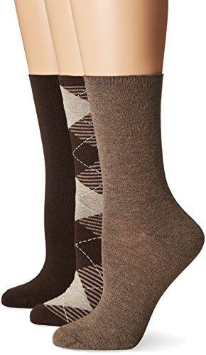No nonsense Women's Jeans Sock, 3 Pair Pack, Argyle-Brown, 4-10