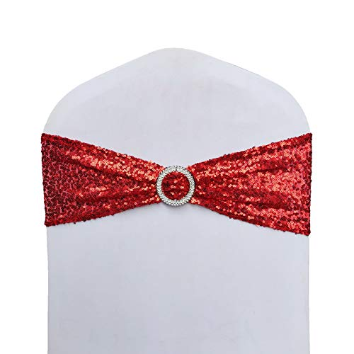 SheYang High Elastic Sequin Chair Sashes Bling Bling Chair Sashes Soft Strecth Sequin Material Shining Sequin Chair Bows for Party Decoration Home (10PCS, Red+Buckle)