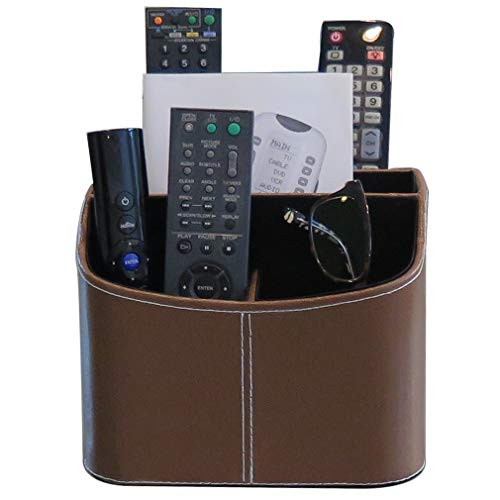 Evelots Spinning TV Remote OrganizerCell Phone/Tablet5 SectionFaux Leather