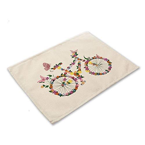 Bloem vlinder meisje katoen linnen Pad patroon keuken Placemat kom Cup Mat eettafel matten Coaster 42 * 32cm Home Decor PM0043, PM0043-8