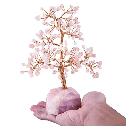 Árbol de dinero de cristal de piedras preciosas Base de piedra áspera natural Lucky Árbol Estatuilla para la decoración de la oficina en casa (Color : Rose Quartz Tree)