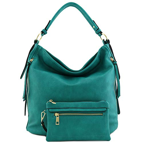 2pc Set Faux Leather Large Hobo Bag with Pouch Purse (Teal)