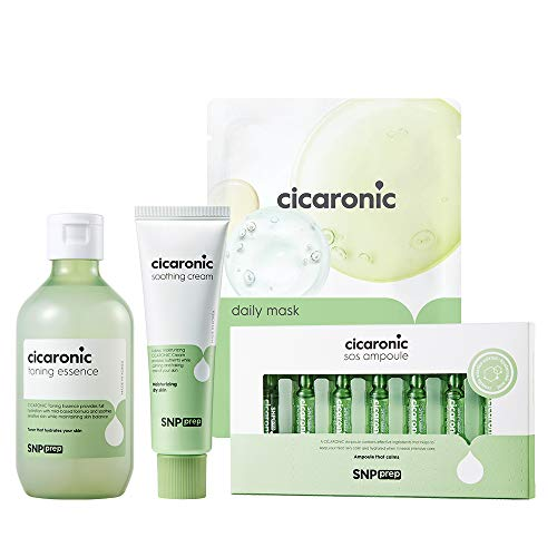 SNP PREP - Cicaronic Complete Korean Skin Care Set - Includes Toner, Soothing Cream, SOS Ampoule, Sheet Mask (10 Sheets) - Best Gift Idea for Mom, Girlfriend, Wife, Her, Women