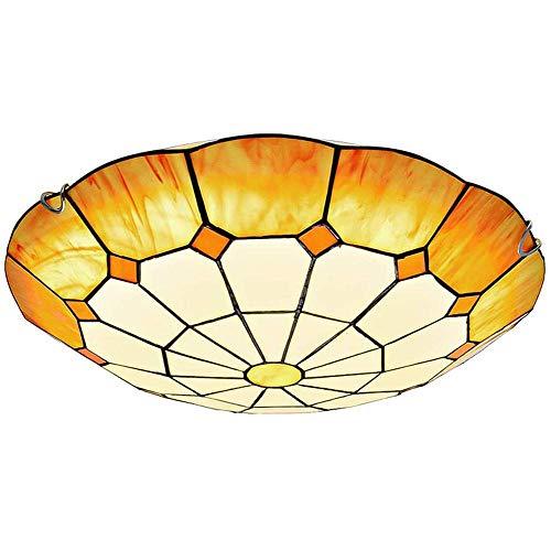 Luz superior de cristal de color amarillo, luz de techo mediterránea de Tiffany blanca amarilla,Lámpara de techo decorativa empotrada para dormitorio corredor comedor - La cabeza de la lámpara 50cm
