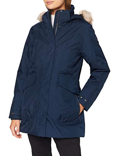 CMP Damen Parka Climaprotect Con Cappuccio Eco Fur Jacke, Schwarz Blau, EU 46 / XXL