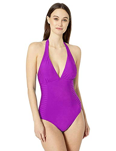 Calvin Klein Women's Halter Top Pleated One Piece Swimsuit with Removable Cups, Dragonfruit, 6