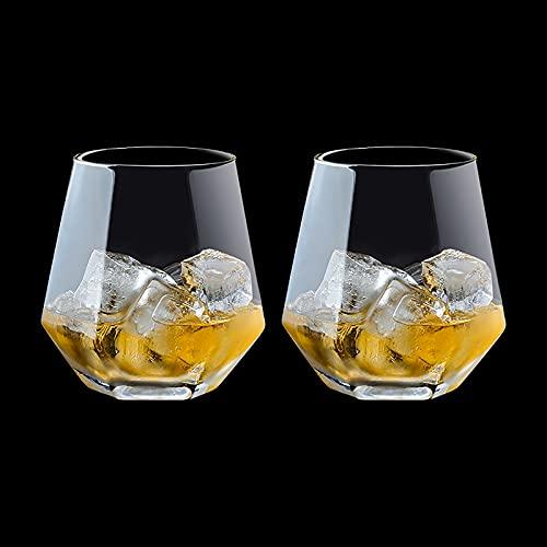 2 piezas de vidrio de whisky vidrio soplado a mano, vidrio de cerveza, vidrio de cristal de gama alta con vidrio de oro en forma de diamante, conveniente para whisky no Phnom Penh