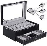 BEWISHOME Watch Box Organizer Case 12 Mens Jewelry Display Drawer w/Adjustable Tray Glass Top Black PU Leather SSH02B
