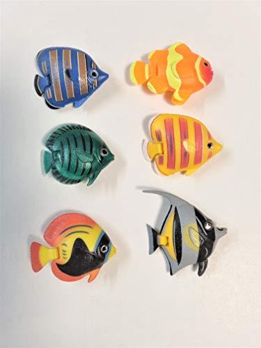 Juego de 6 peces decorativos para acuario, diseño de columna de agua, flotadores, peces decorativos, rempuradora #12