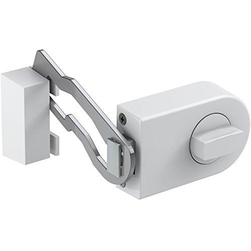 BASI R1306-0201 Formschönes vollmassives Tür-Zusatzschloss MIT Sperrbügel, 2tourigem Riegel und Außenzylinder-Option, weiß/halbrund