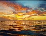 N\A Pintura por números para adultos regalo para amigos bricolaje pintura abstracta atardecer paisaje marino 40 x 50 cm