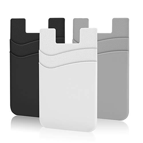 Phone Card Holder, SHANSHUI Silicone Phone Wallet Stick On Credit Card Holder Phone Pocket for Almost All Smartphones(Black,White,Grey/3pcs)