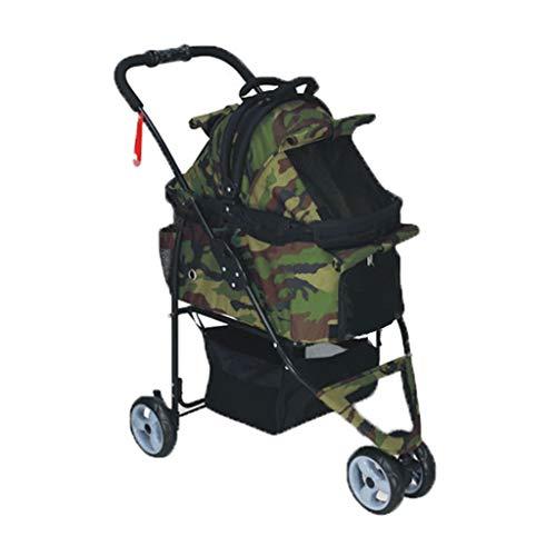 KKCD-Pet stroller kinderwagen hond/kat trolley regenproof afneembare multifunctionele vouwwagen uit licht dier sportwagen Huisdier-kinderwagen legergroen