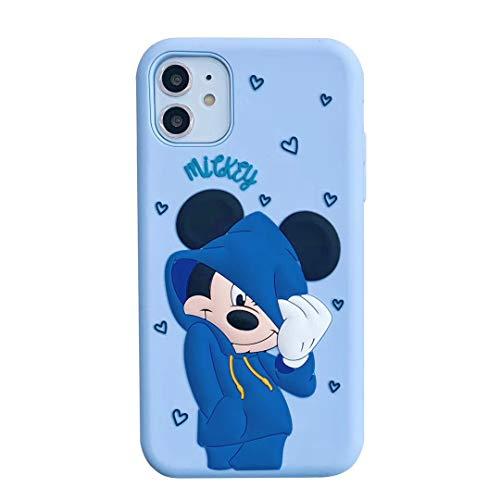 Funda de silicona de gel suave de silicona con diseño de Mickey Minnie Mouse, diseño de dibujos animados en 3D, para niños y niñas (azul, iPhone X/X)