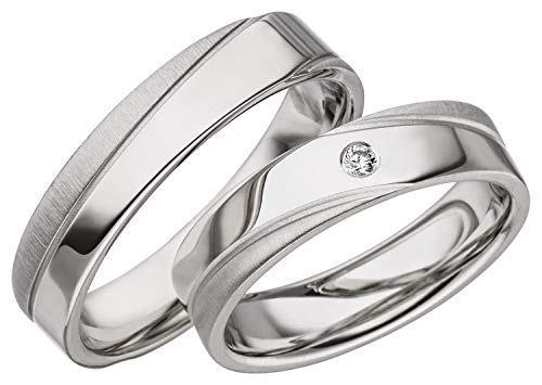 JC Trauringe 925er Sterling Silber Paar-Preis I Ehe-Ringe mit kostenloser Gravur I Verlobungsringe 5 mm breit inkl. Etui-Box I Herren-Ring ohne & Damen-Ring mit Zirkonia-Stein I Gr. 48 bis 72 I A08