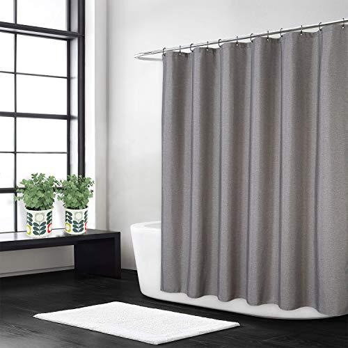 Flachs-Leinen-wie 240 g/m² schwerer extra langer Stoff Duschvorhang mit Haken, Hotel waschbar, grau, 180 x 240 cm