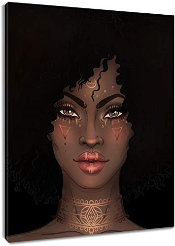 LB African American Woman Canvas Wall Art Black Girl Tribe Beauty Painting Canvas Prints