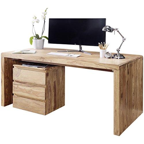 WOHNLING Schreibtisch Massiv-Holz Akazie Computertisch 140 cm breit Echtholz Design Ablage Büro-Tisch Landhaus-Stil Natur-Produkt Büro-Möbel dunkel-braun Modern Büroeinrichtung rechteckig 76 cm hoch