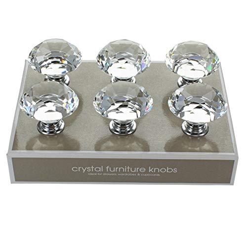 G Decor Kristall-Türknauf in Diamant-Optik, für Küchenschränke, Schränke, Schubladen, 40 mm, transparent, 6 Stück