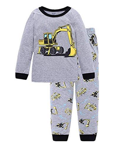 Schlafanzug Jungen Langarm Zweiteiliger Baumwolle Kinder Nachtwäsche Dinosaurier Bagger Feuerwehrauto Zug 92 98 104 110 116 122, Bagger, 110 (HerstellerGröße: 120)
