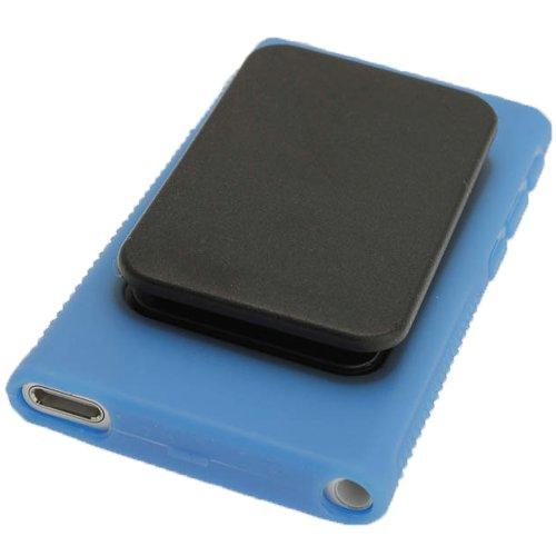 igadgitz U2065 Blau Kristall Gel Tasche TPU Schutzhülle Etui mit integriertem Sport Clip + Displayschutzfolie Kompatibel mit Apple iPod Nano 7 Gen