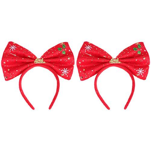 Minkissy 2 piezas Navidad Bowknot aros para el cabello franela banda para...