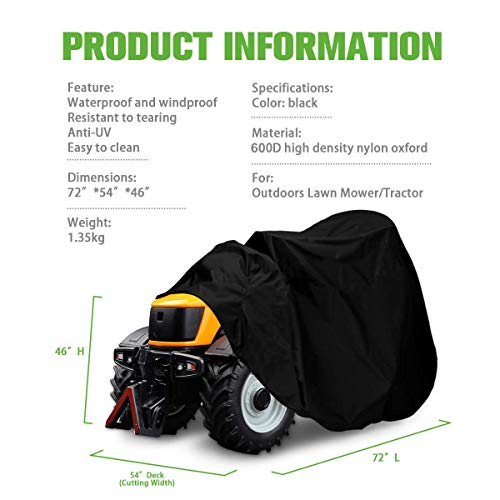 NASUM Riding Lawn Mower Cover, 600D-Upgrade Tractor Cover Fits Decks up to 54