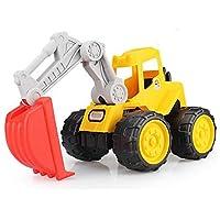 耐転倒エンジニアリング車の子供のビーチのおもちゃ、環境に優しい材料の取り外し可能なハンドルブルドーザーはバックバケットを回転させることができます (色 : 黄, サイズ : B)