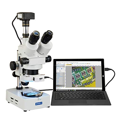 OMAX 3.5X-90X USB3 18MP Digital Trinocular Zoom Stereo Microscope on Desk Stand with 56-LED Light