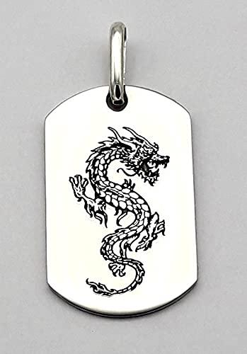 Chapa militar personalizada- chapa de acero - Dragón -Colgante para hombre