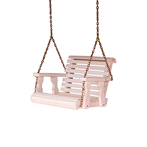 Amish Heavy Duty Roll Back Pressure Treated Swing Chair (Semi-Solid White Stain)