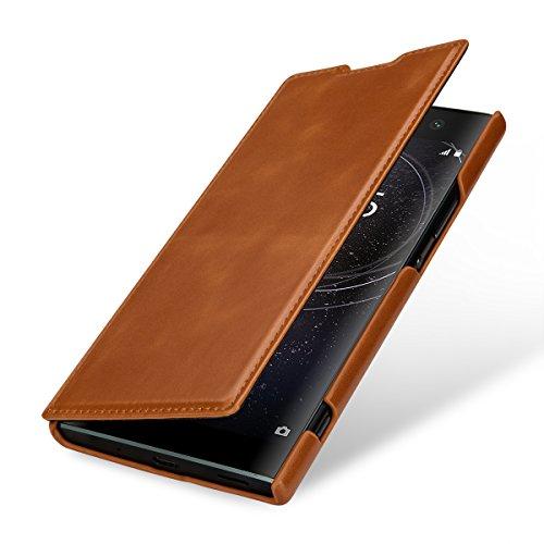 StilGut Book Type, Leder-Hülle kompatibel mit Sony Xperia XA2 Ultra, Cognac