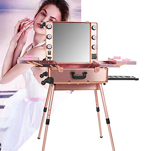 WZWTYN Portable Rolling Makeup Train Case, Cosmetic Box with Mirror Adjustable Leg and Light Brightness, Best Gift for Girls Professional Studio