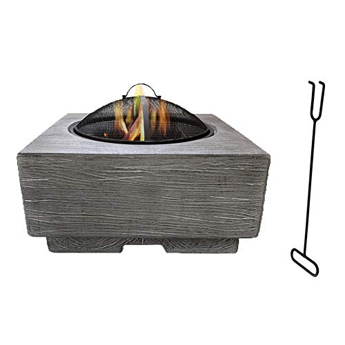 Square Fire Pit Table Portable Outdoor Firepit with Poker Patio Garden Multifunctional Fire Pit for Heating/BBQ with Small Device to Install
