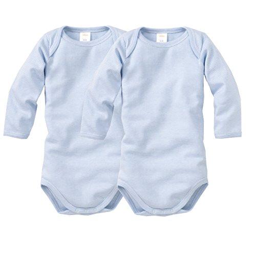 WELLYOU, 2er Set Kinder Baby-Body Langarm-Body, hell-blau weiß gestreift, Geringelt, für Jungen und Mädchen, Feinripp 100% Baumwolle, Größe 68-74