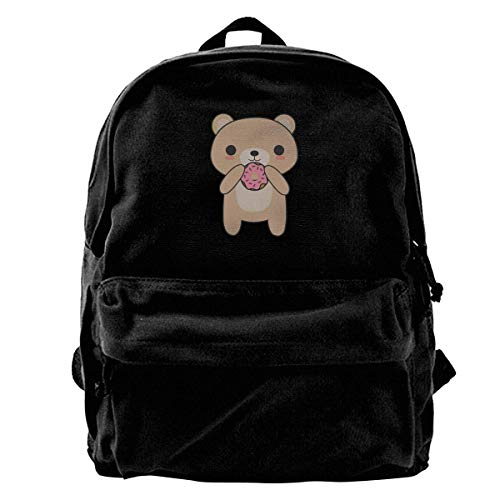 Backpack Cute Bear Eating A Donut Canvas Backpack Men Women Unique Lightweight Book Laptop Backpack Print Birthday Travel Backpack School Gift Cute Casual Shoulder Bags Daypack