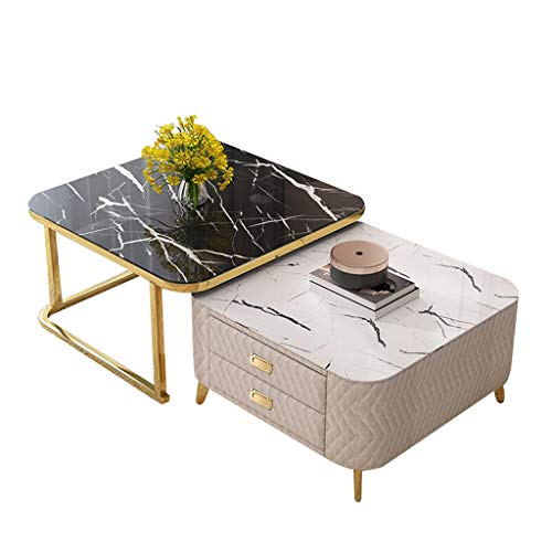 ZHAORU Nesting Coffee End Tables with 2 Drawer, Snack Coffee Table for Small Space Contemporary Style, for Bedroom Home Office