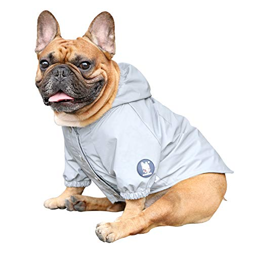 iChoue Dog Reflective Safety Jackets Waterproof Raincoat are All Made Up of High Reflection Fabric Keep Dogs Visible Safe at Night for English Bulldog Boston Terrier- Silvery/Size L Plus
