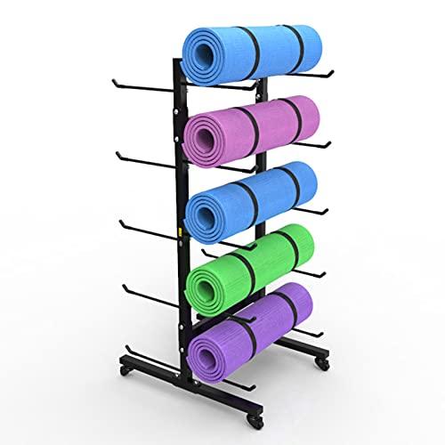 Carro de Esterilla de Yoga Reforzado con Ganchos, Estante de Almacenamiento de Rodillos de Espuma para Ejercicios Organizador de Toallas - Sostenga 10 Tapetes
