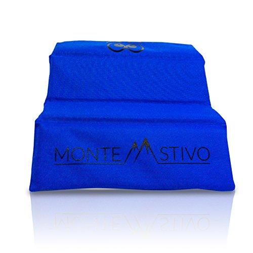 Monte Stivo Expedition | Asiento Exterior 30x40 cm Asiento para niños y Adultos - cojín Plegable en 4 | para Senderismo (Azul)