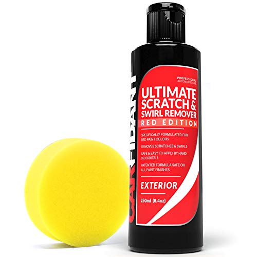 Carfidant Red Car Scratch Remover - Ultimate Scratch and Swirl Remover for Red Color Paints - Polish & Paint Restorer - Easily Repair Paint Scratches, Scratches, Water Spots! Car Buffer Kit