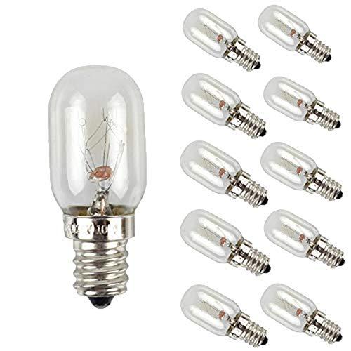 EBD Lighting E12 - Bombillas de luz para frigorífico (10 unidades, 10 W, 120 V, intensidad regulable, 2700 K, luz blanca cálida)