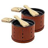 COOKUT - Lumi - Une raclette à la Bougie - Faites Fondre Votre Fromage en 3 Minutes - A Table, Devant la télé ou même en Pique Nique - Spatule Bois inclues - sans électricité - Pack de 2 - Terra Cotta