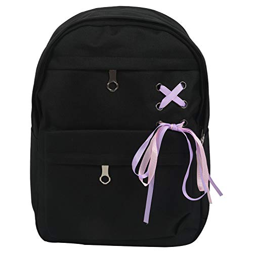 Lopbinte 4Pcs/Set Ribbon Chain Bowknot Canvas Backpack Travel Rucksacks Leisure Backpacks for Teenage Girls School Backpack Black