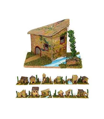 TradeShop - Set 12 Casette per PRESEPE Napoletano Natale CASA PRESEPIO in Sughero 6X8X5CM - 30259