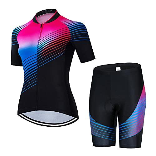 HXTSWGS Maillot de Ciclismo para Mujer de Secado rápido, Conjunto de Ropa para Deportes al Aire Libre, Camiseta y Pantalones Cortos para el verano-A04_S
